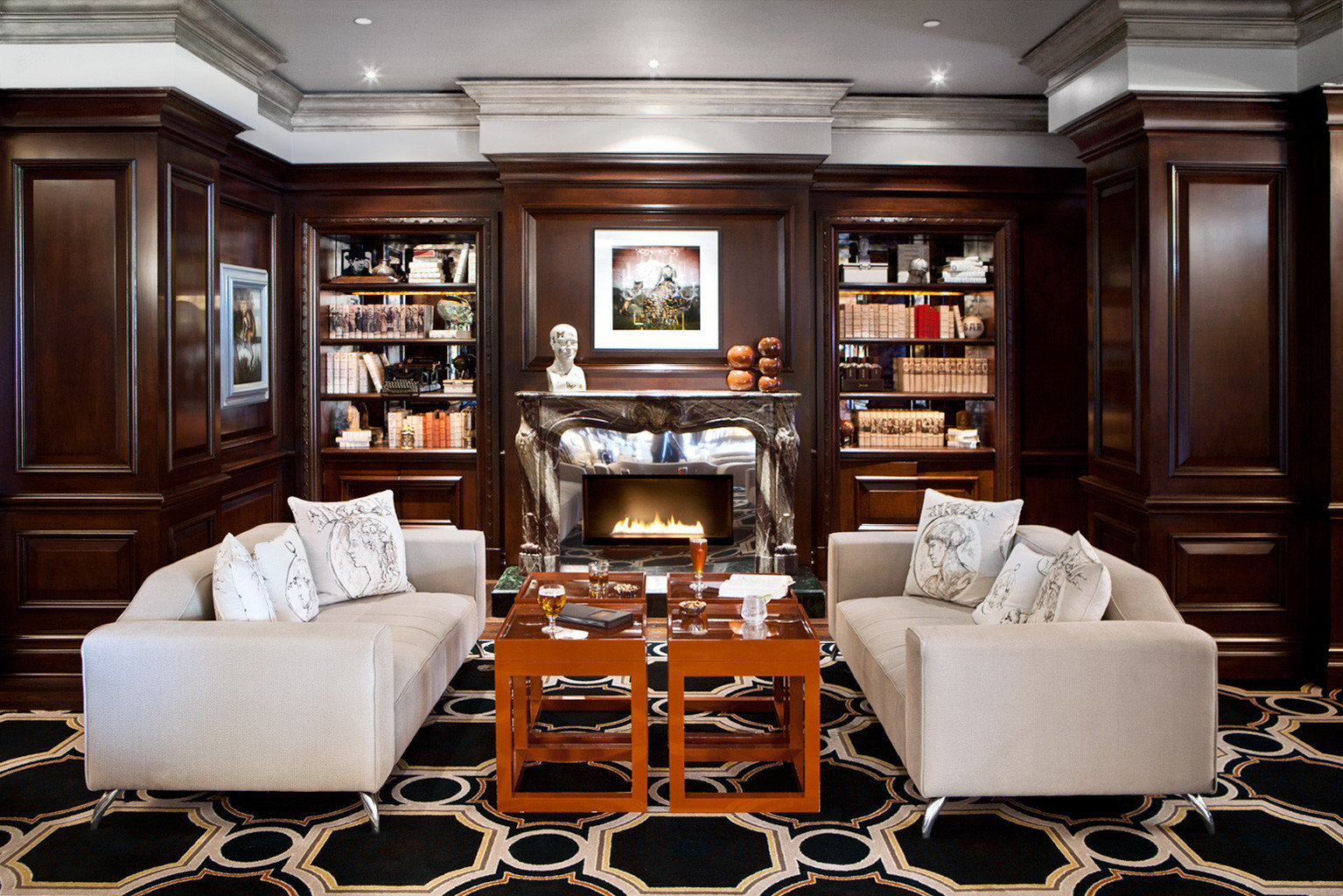Classic Drink Elegant Fireplace Lounge Luxury living room home mansion