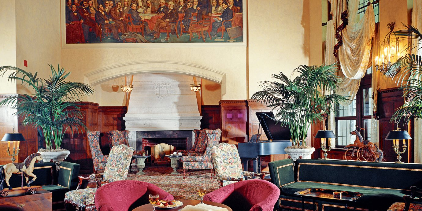 Classic Fireplace Lounge Resort living room restaurant home pink Lobby colored colorful