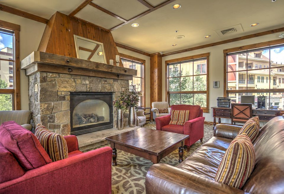 Classic Fireplace Resort sofa living room property home house cottage recreation room condominium leather