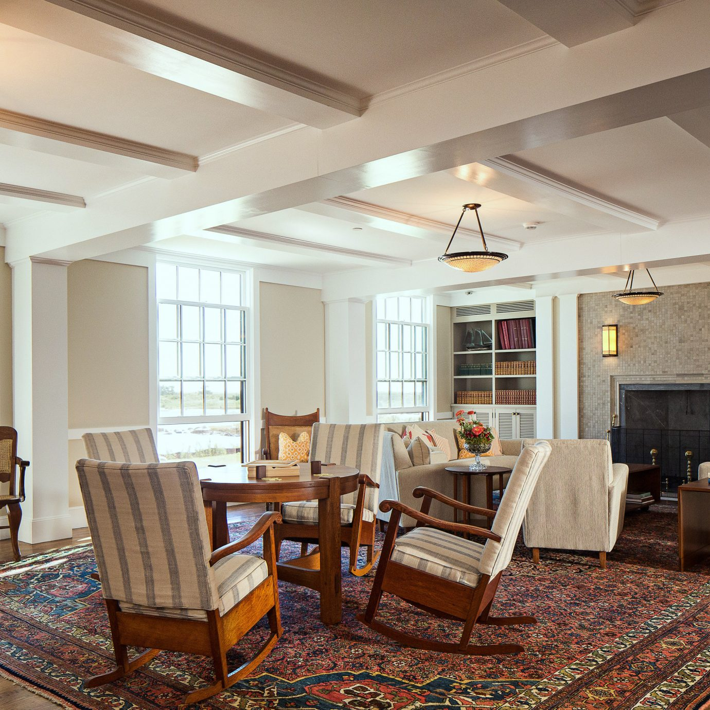 Classic Inn Lobby Lounge Waterfront property living room home hardwood condominium cottage mansion