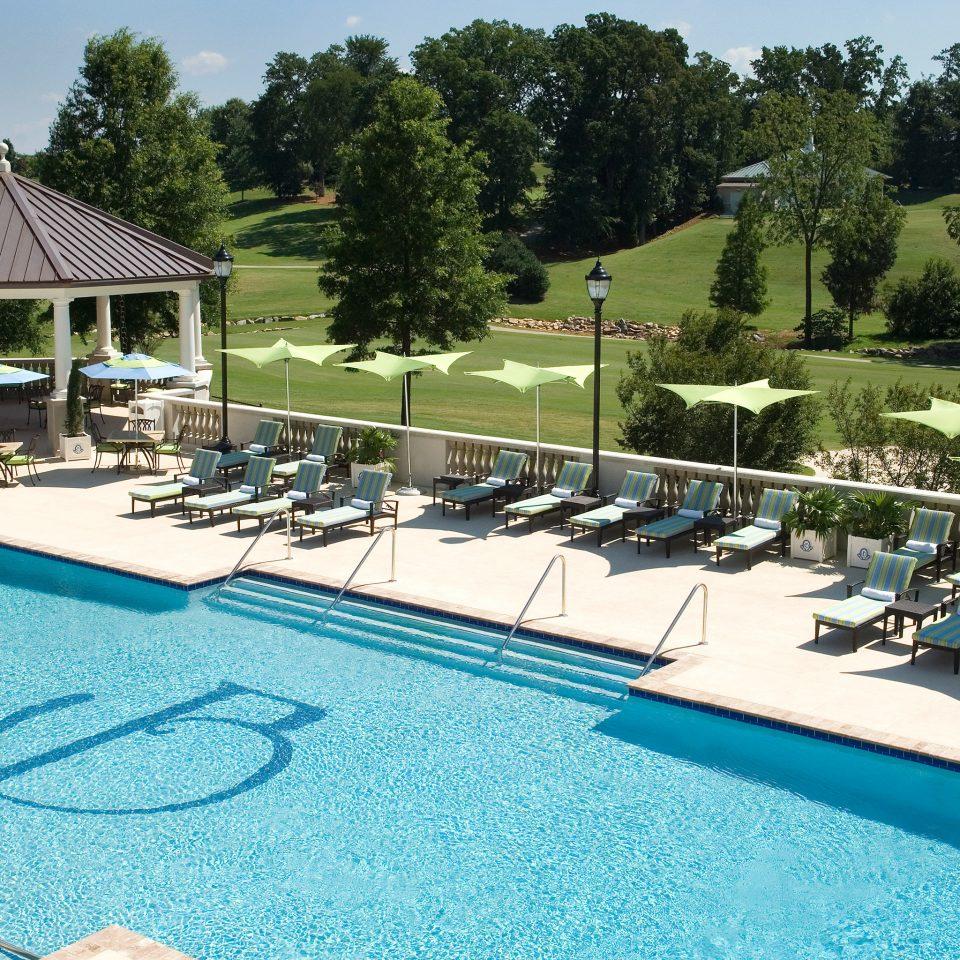 Classic Luxury Patio Pool Terrace tree sky leisure swimming pool blue Resort backyard lawn