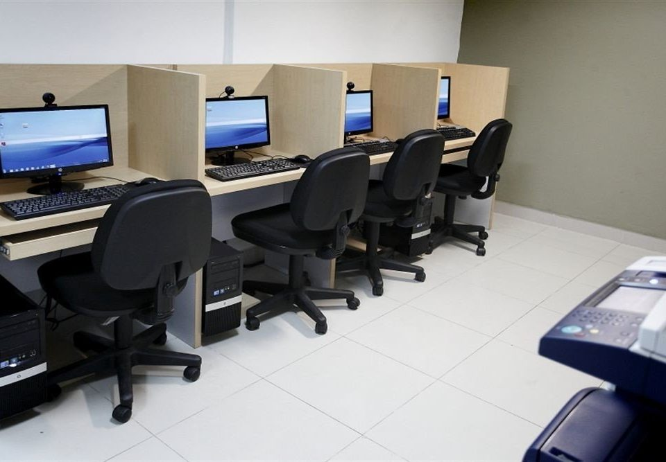 desk computer office classroom electronics conference hall