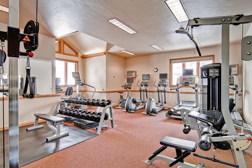 structure gym sport venue muscle condominium physical fitness cluttered