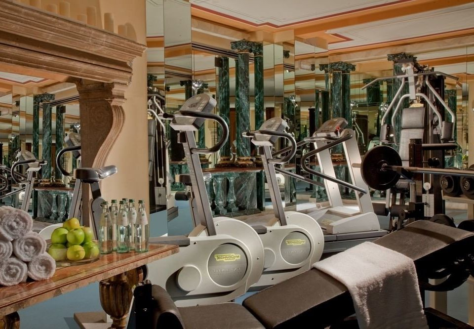 structure gym sport venue physical fitness cluttered dining table