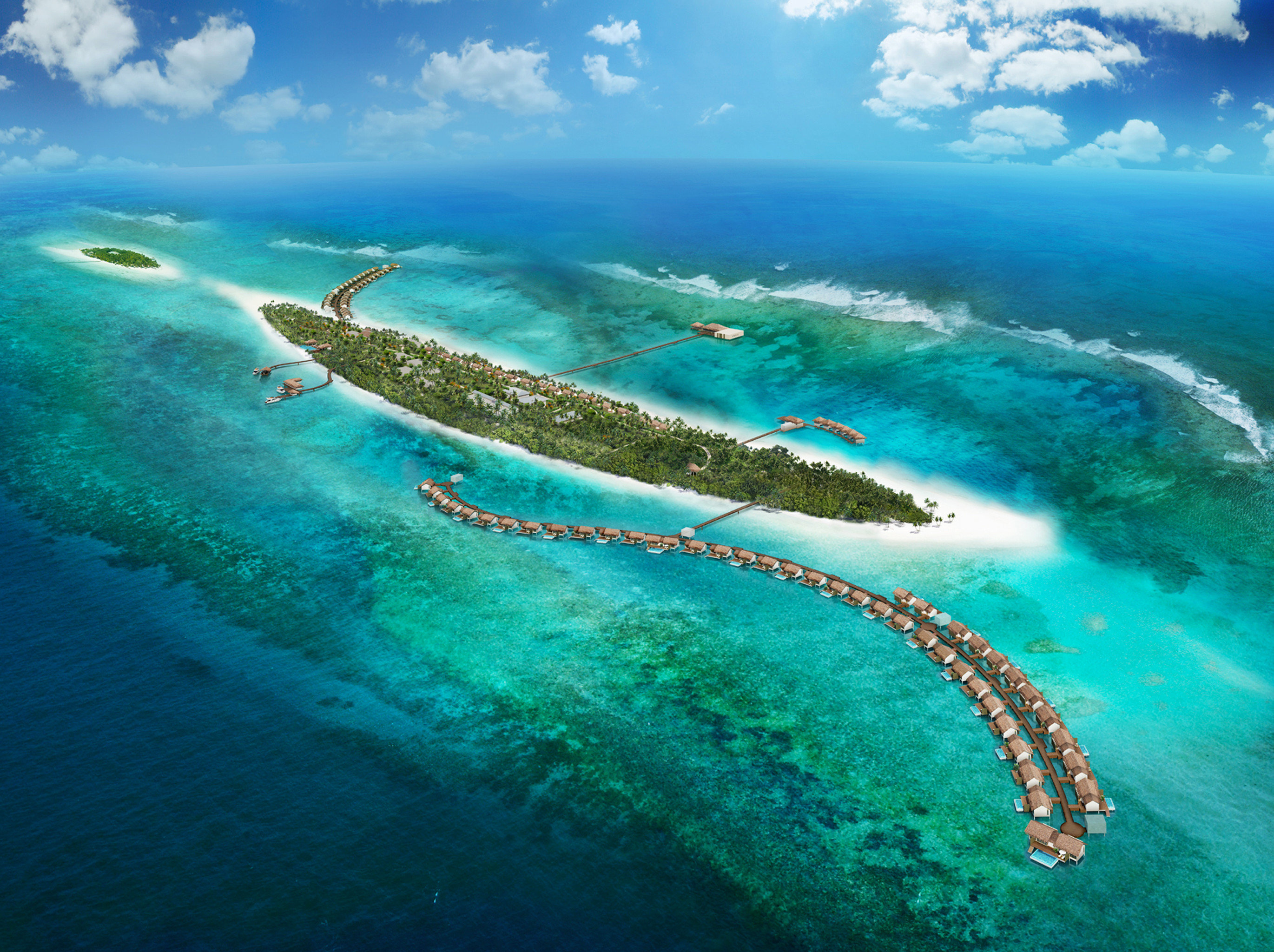 Exterior Grounds Island Luxury Ocean Tropical water sky marine biology Sea reef coral reef biology archipelago Nature Coast wind wave underwater atoll islet blue water sport wave caribbean cape day