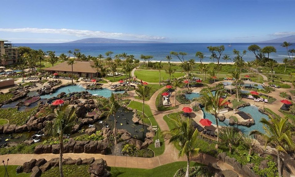 Grounds Resort grass Town aerial photography residential area bird's eye view Village Coast park panorama shore lush