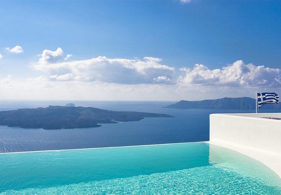 sky water Sea Nature horizon Ocean mountain Coast swimming pool Lagoon caribbean blue Island shore day