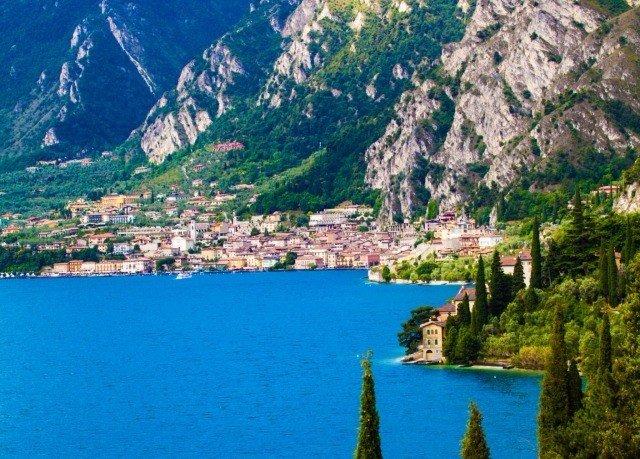 mountain water Nature Town fjord background Lake mountain range Coast surrounded hillside