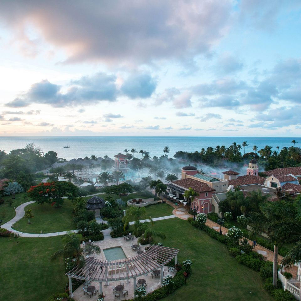 sky residential area Coast aerial photography Sea Nature Resort panorama cityscape overlooking clouds shore day