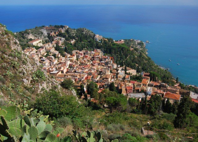 Nature sky mountain rock Town historic site Coast Village cliff Sea cape terrain hill rocky hillside overlooking