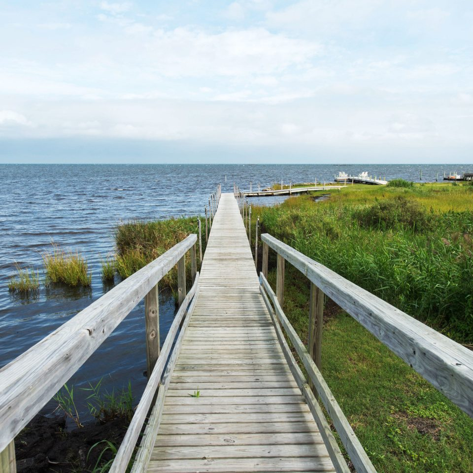 sky grass water habitat wooden shore Coast horizon Sea walkway Ocean channel reservoir waterway boardwalk railing overlooking