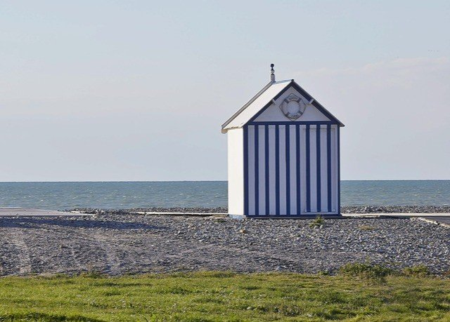 grass sky tower building chapel Sea Coast wind shore promontory