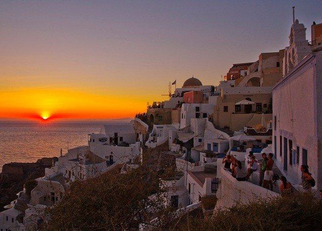 sky Coast Town Sunset horizon Sea evening dusk cityscape dawn