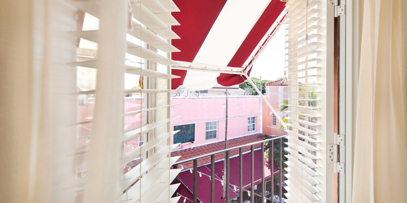 color red house home window treatment hall window blind