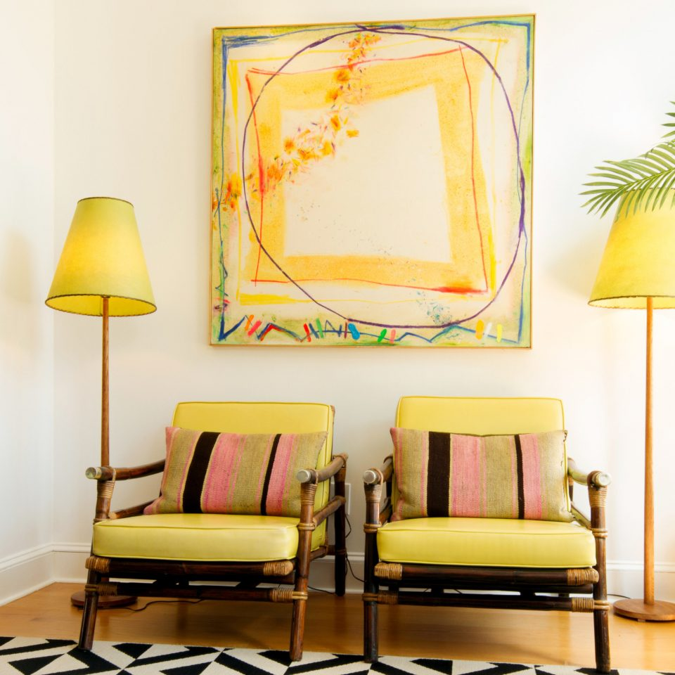 color yellow living room home modern art lamp