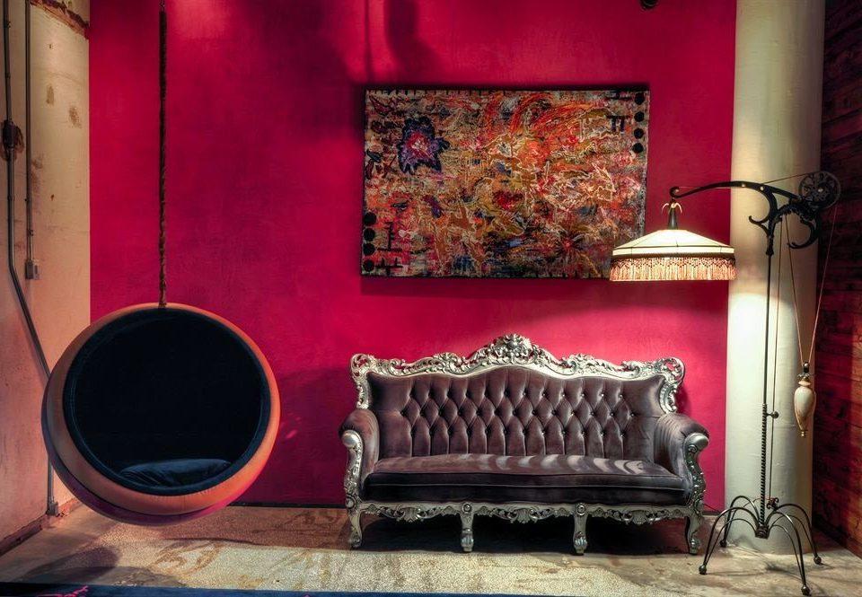 color red living room stage modern art wallpaper