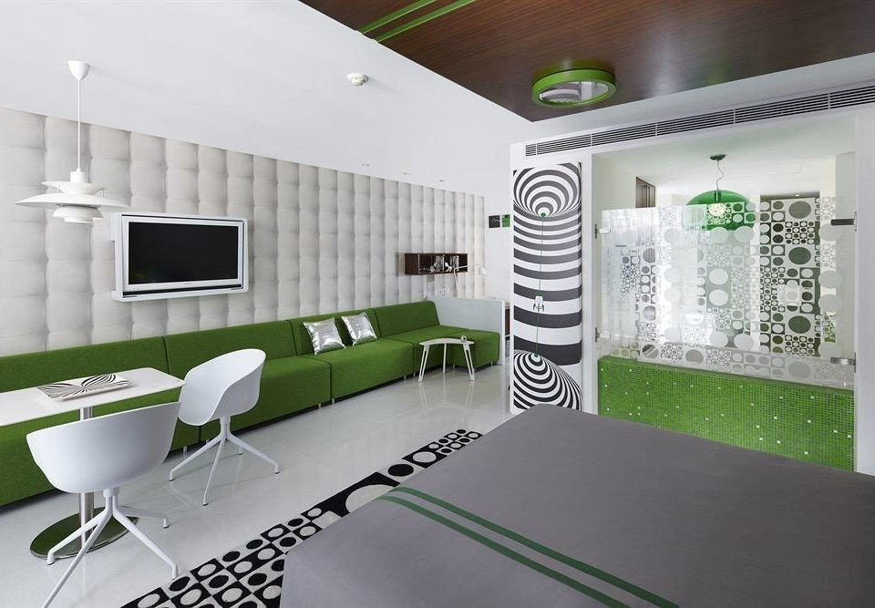 green property office condominium waiting room home living room headquarters conference hall dining table