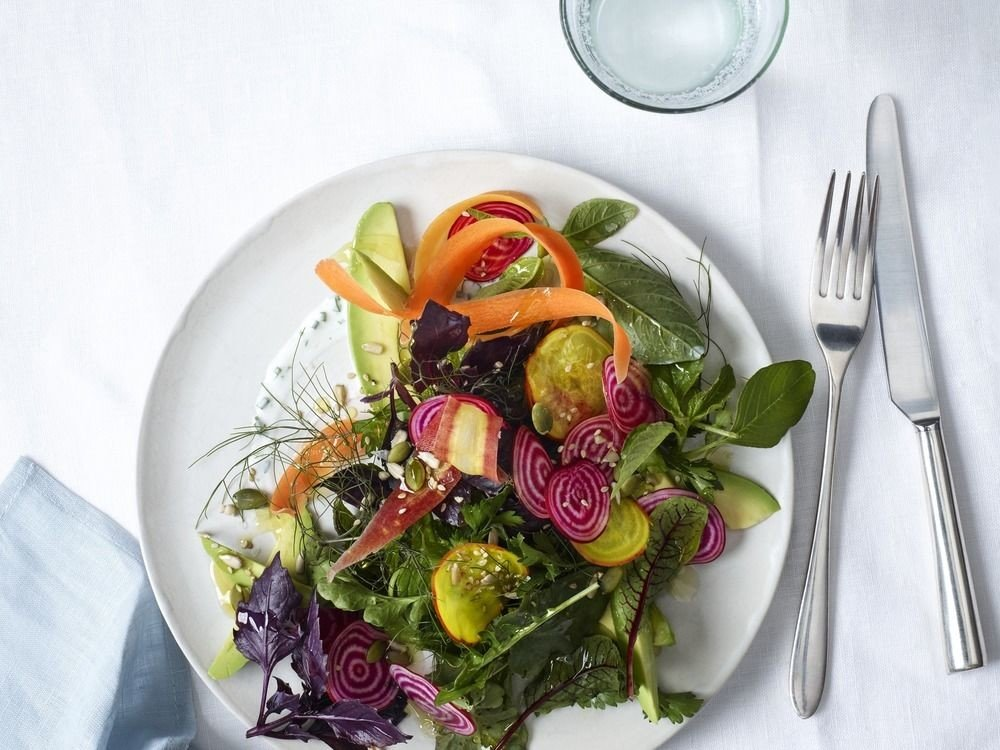 plate food fork vegetable salad white leaf vegetable flower lunch cuisine containing