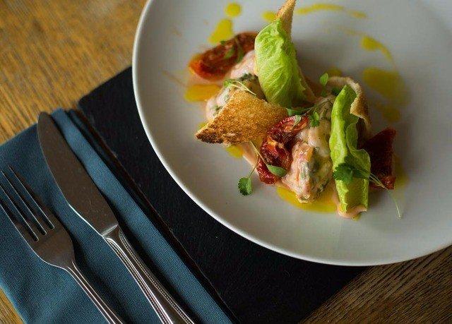 plate food cuisine fork meat vegetable snack food containing piece de resistance