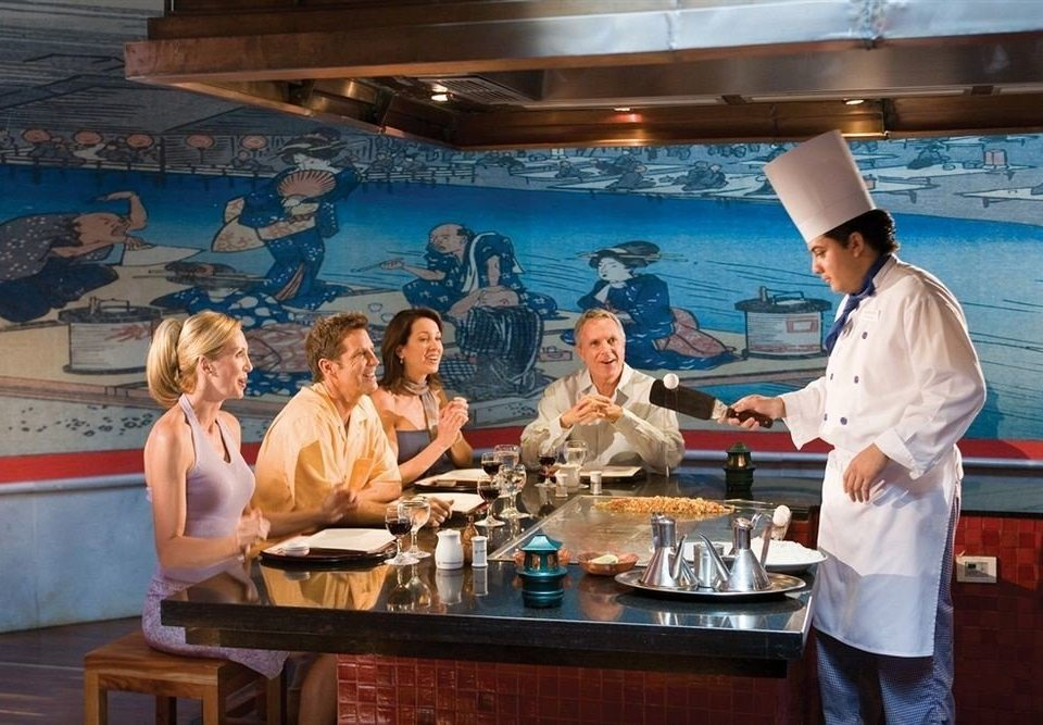 group restaurant yacht professional cooking preparing