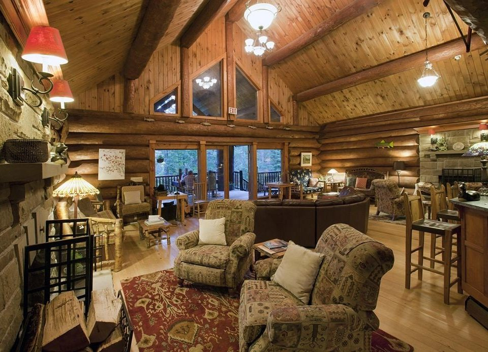 property home log cabin living room cottage restaurant mansion