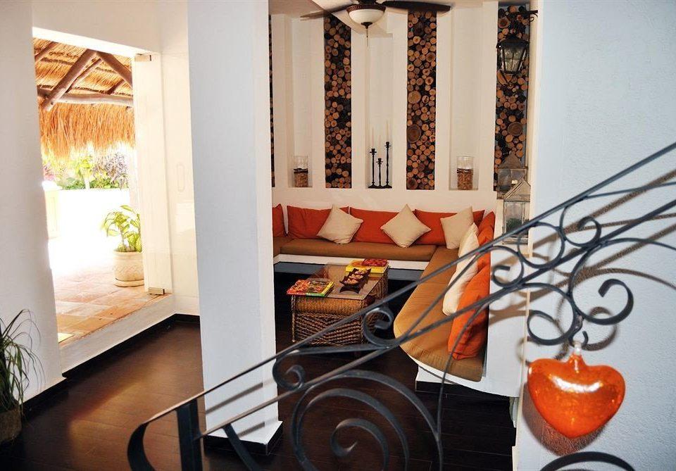 living room home orange cottage