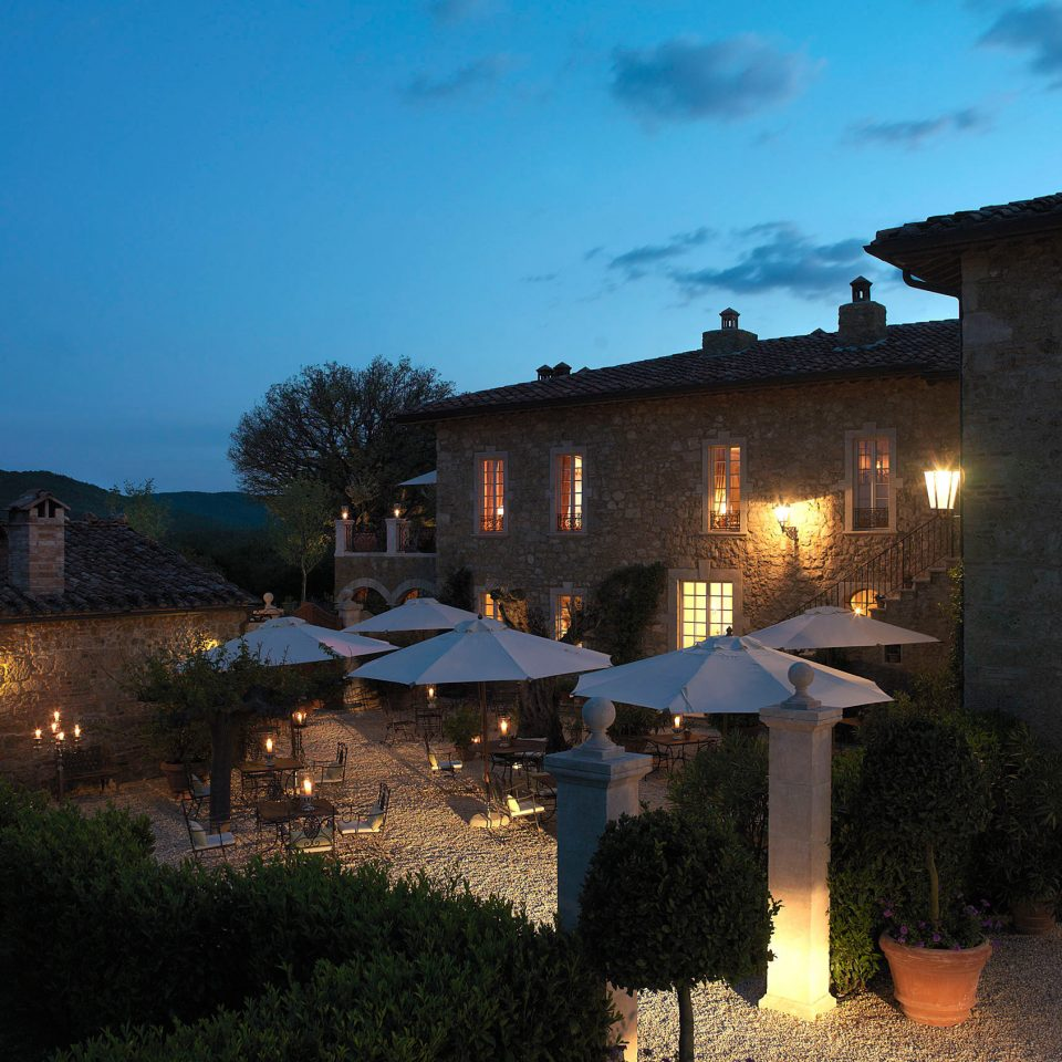 Country Cultural Elegant Grounds Historic Patio Romantic sky building house night evening lighting home Village Villa dusk stone