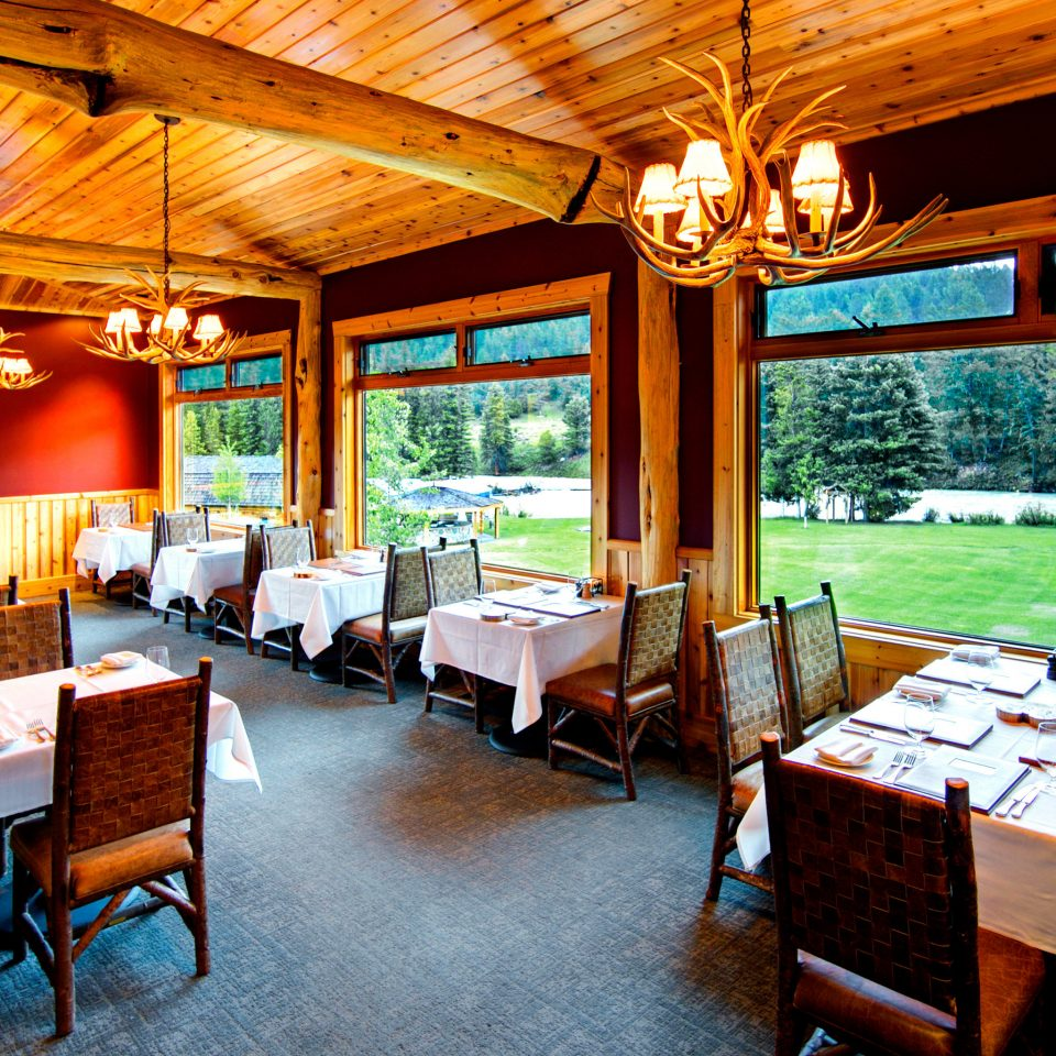 Country Dining Drink Eat Lodge Ranch Rustic Scenic views property chair Resort restaurant home Villa