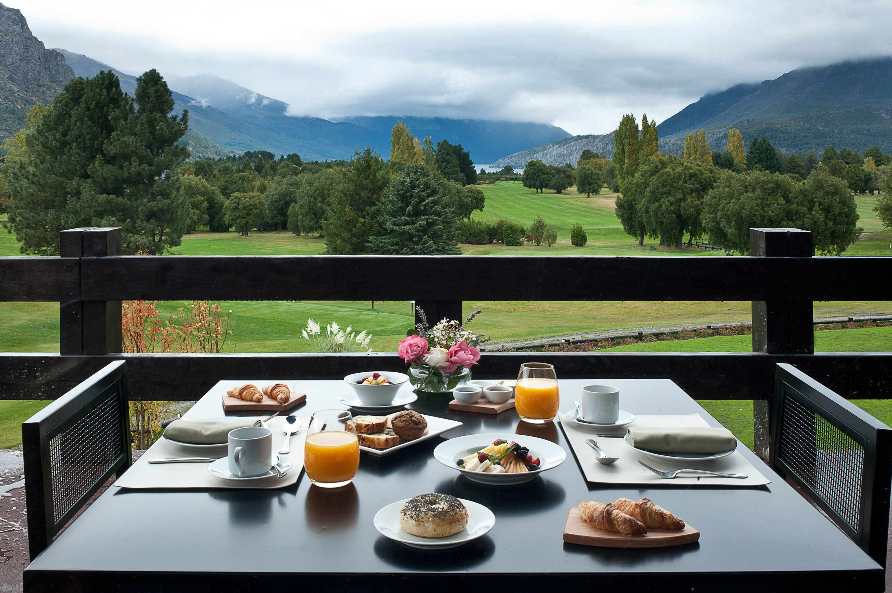 Country Dining Drink Eat Lodge Rustic tree plate mountain overlooking