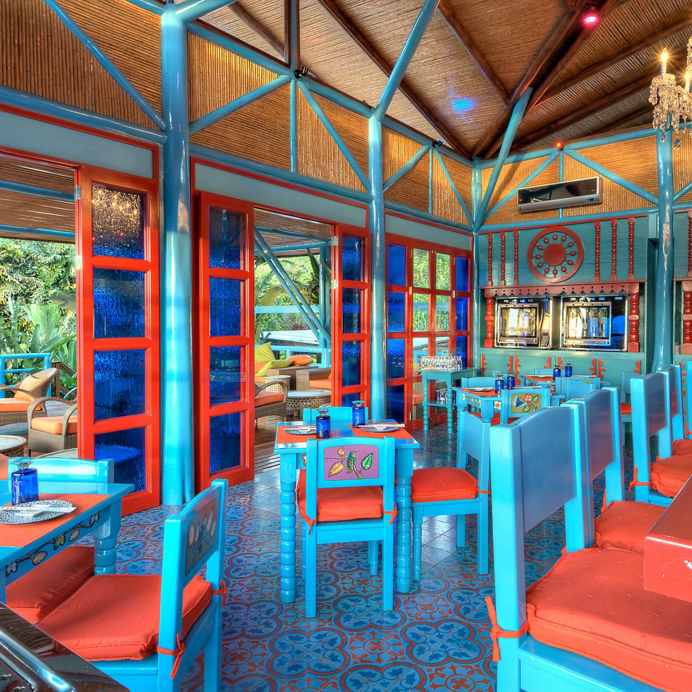 Country Dining Drink Eat Eco Jungle Romantic Rustic chair leisure restaurant amusement park Resort colorful orange set colored