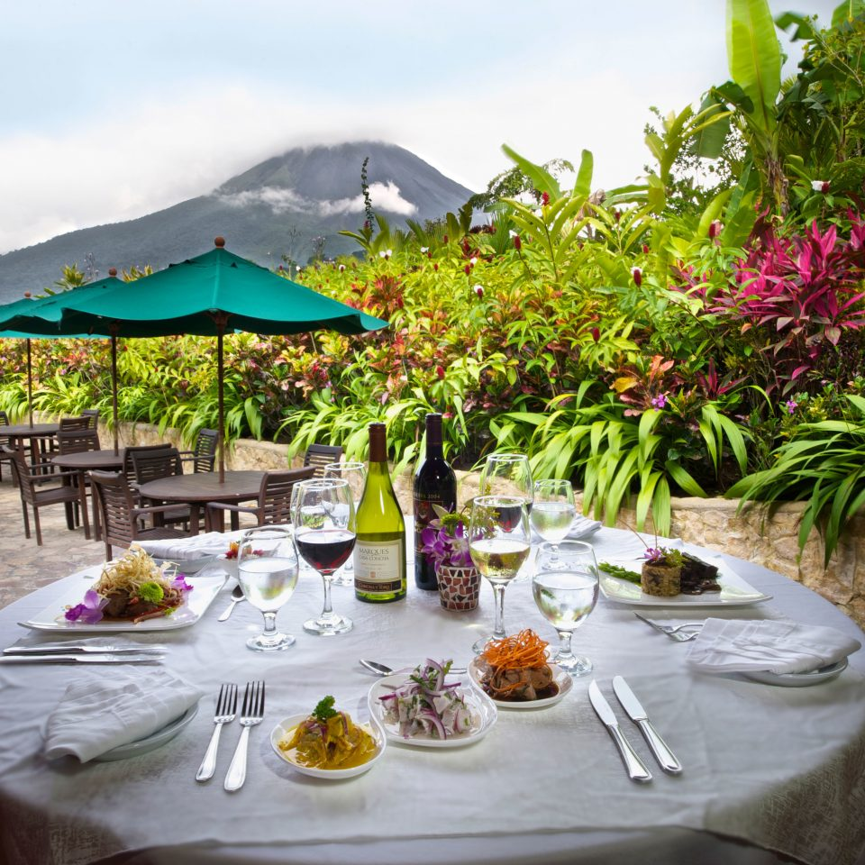 Country Dining Drink Eat Eco Jungle Mountains Romantic Rustic Scenic views Resort restaurant backyard Villa hacienda flower set