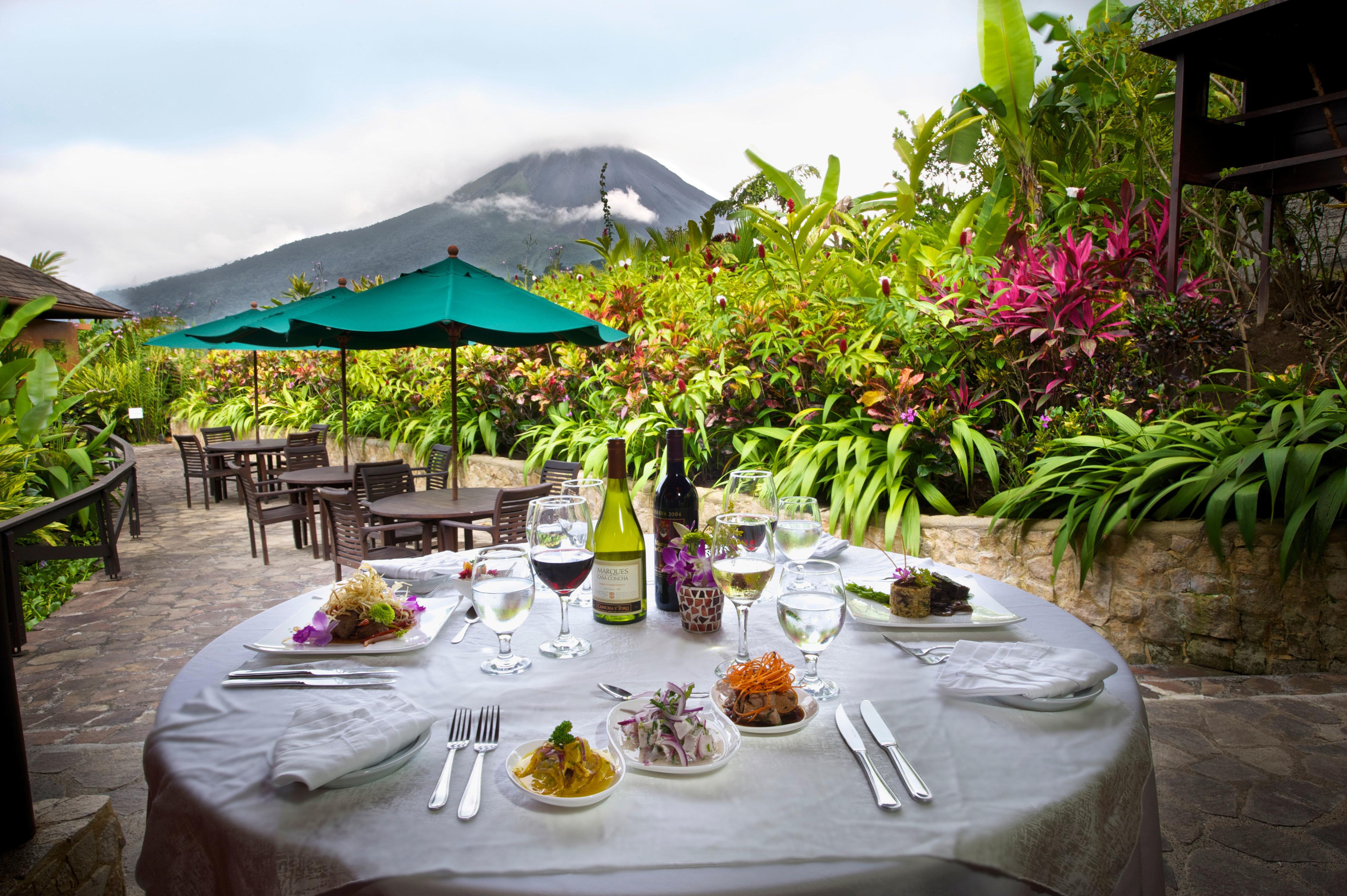 Country Dining Drink Eat Eco Jungle Mountains Romantic Rustic Scenic views Resort restaurant backyard Villa hacienda flower set