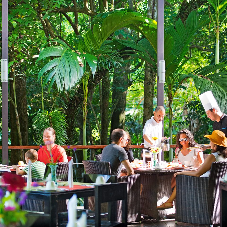 Country Dining Drink Eat Eco Modern Resort Romance tree flower Jungle Garden restaurant dining table
