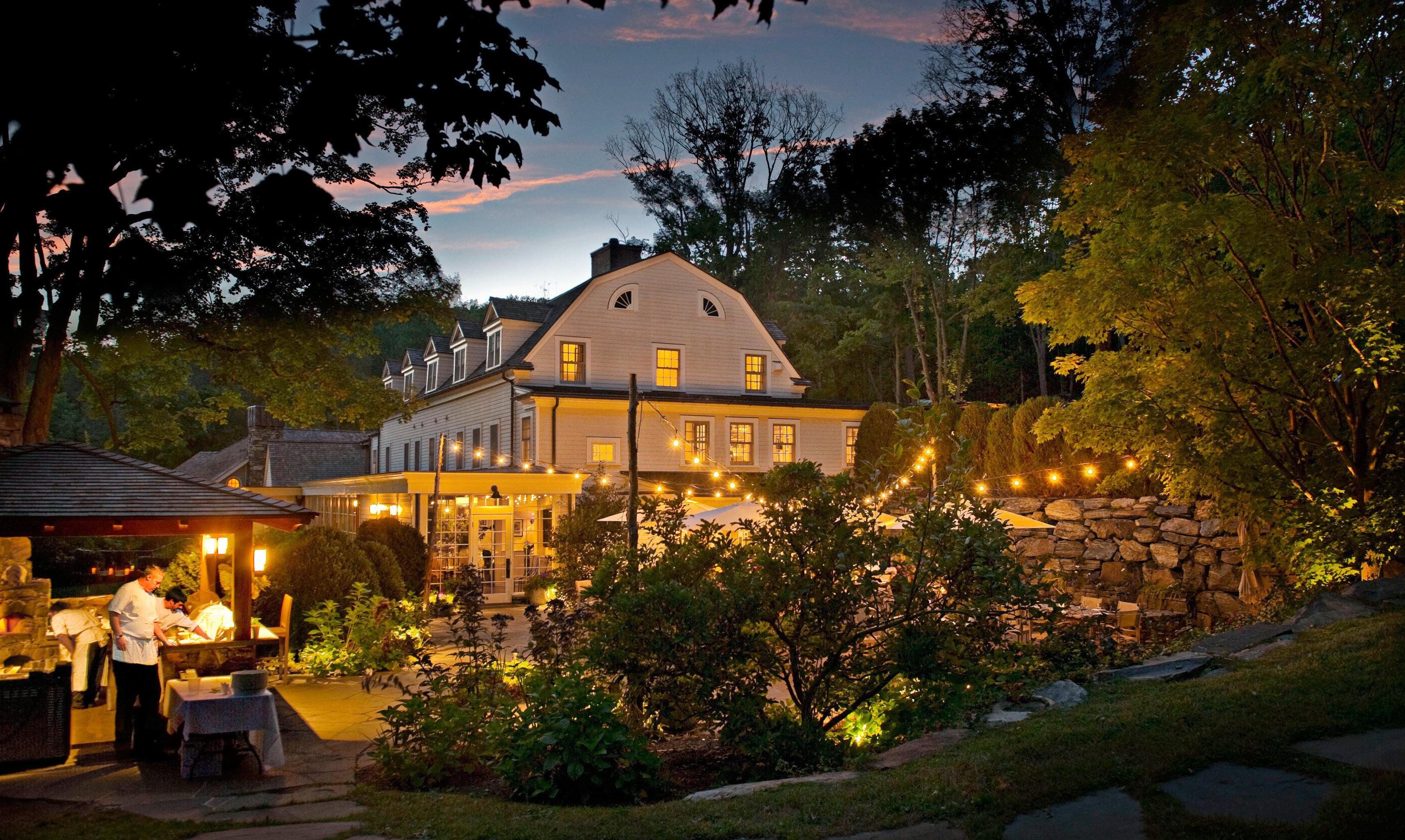 Country Drink Eat Exterior Garden Inn Luxury Modern Patio tree night house evening landscape lighting lighting home autumn flower