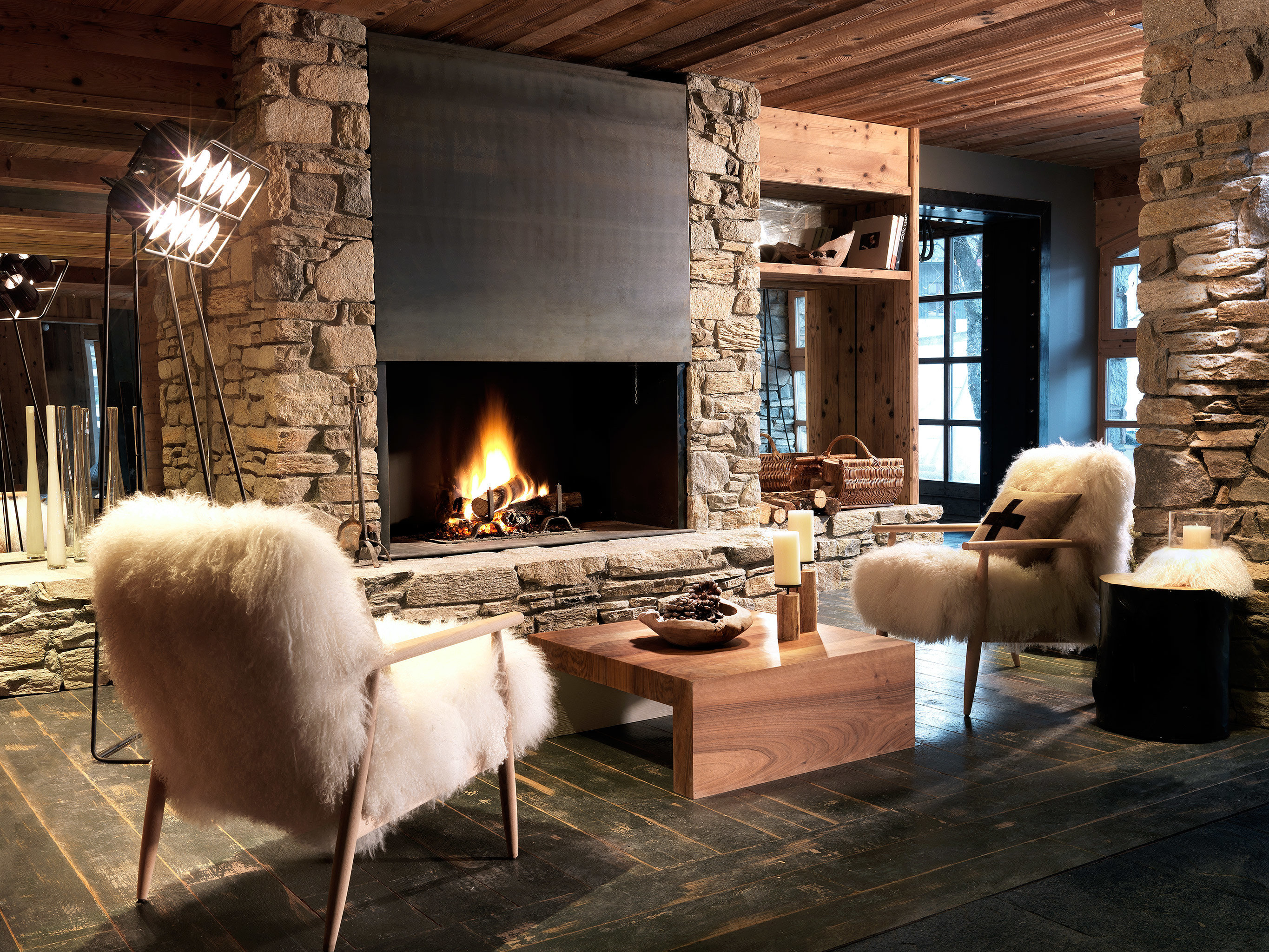 Country Hip Lodge Rustic Fireplace hearth living room building home house flooring cottage stone