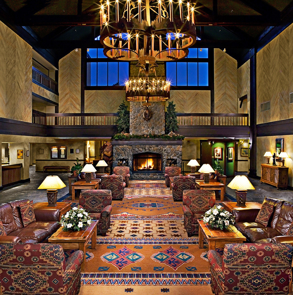 Country Fireplace Lodge Lounge Rustic building Lobby