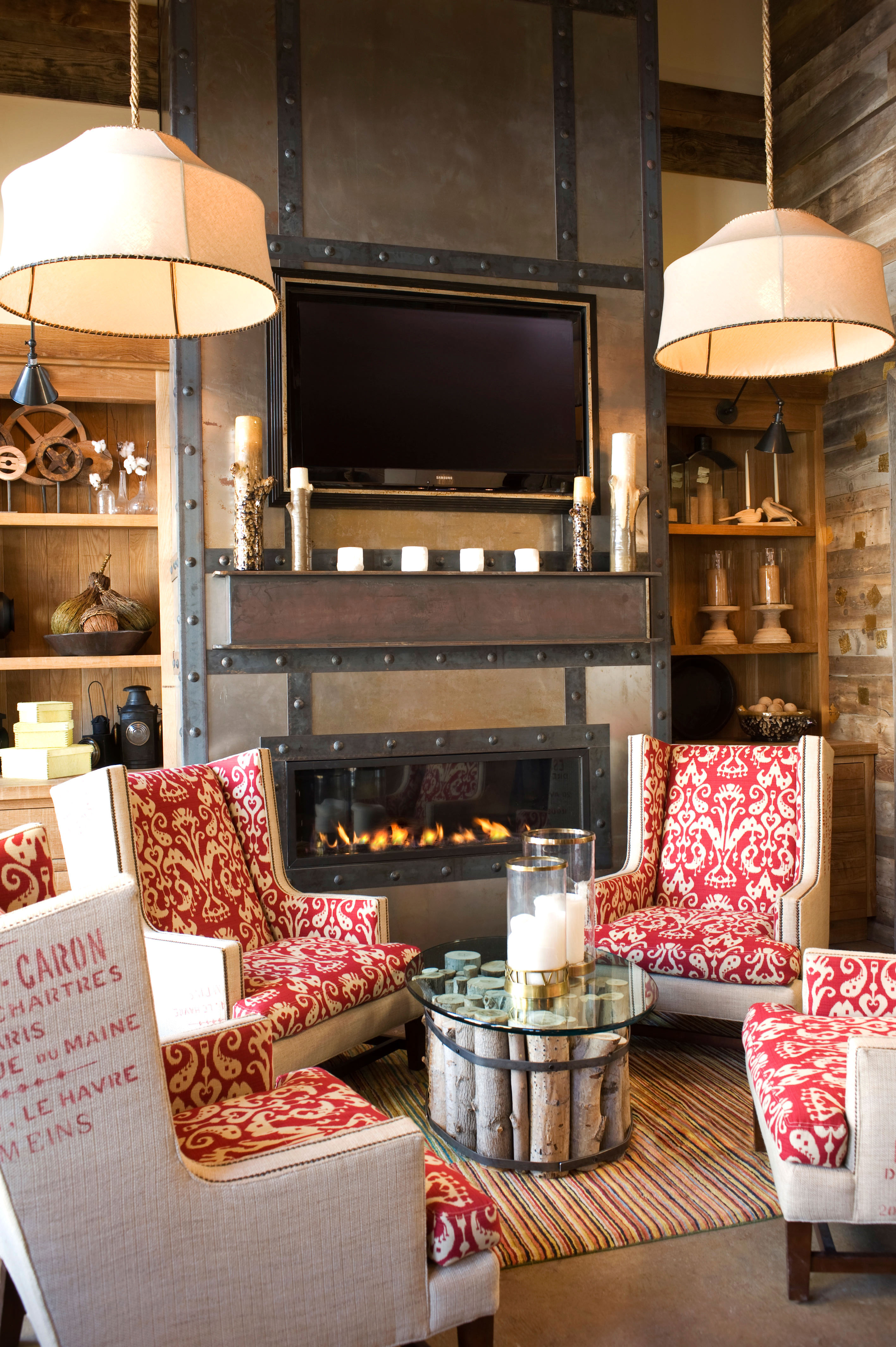 Country Lodge Rustic living room home Fireplace