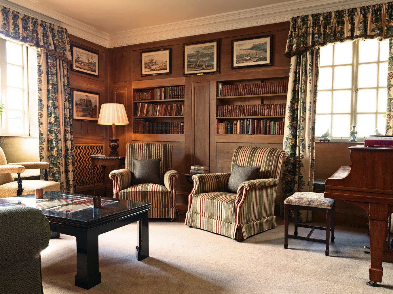 Country Golf Historic Lobby Lounge living room chair property home hardwood cabinetry recreation room library