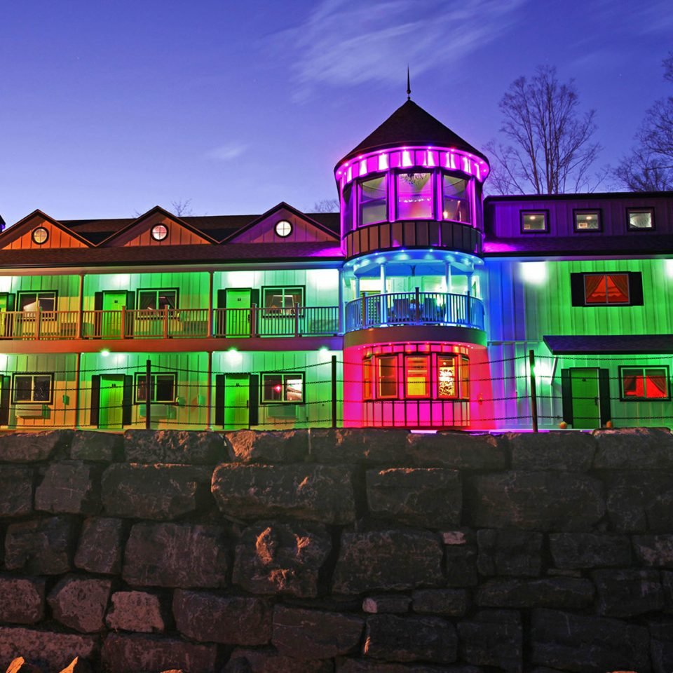 Country Grounds Modern Scenic views building brick night house lighting stone evening screenshot christmas lights Resort colorful