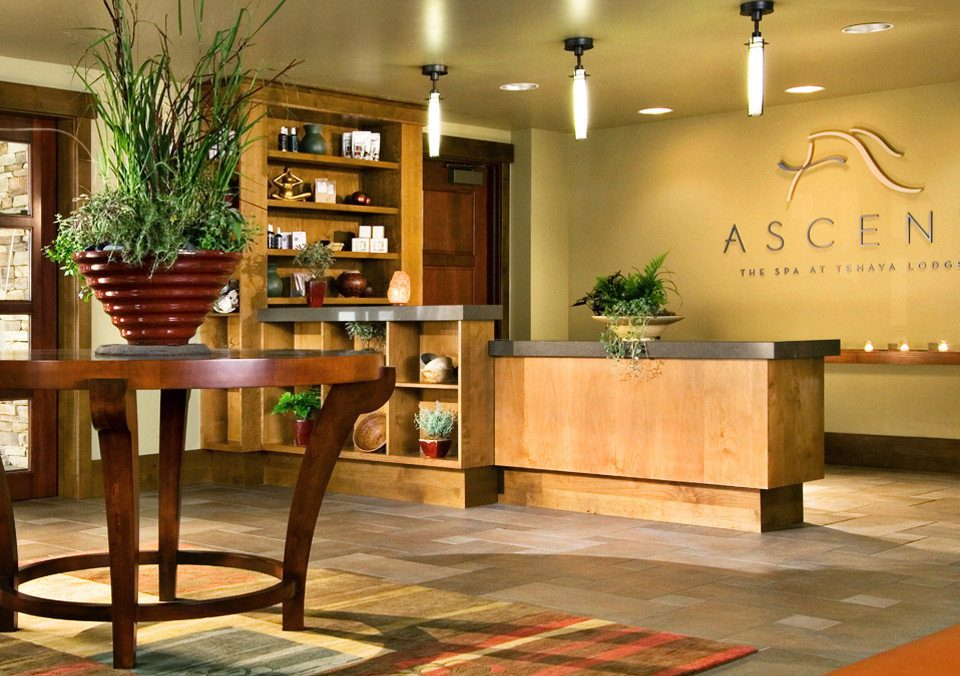 Country Lodge Rustic Spa Wellness Lobby hardwood plant home wood flooring flooring