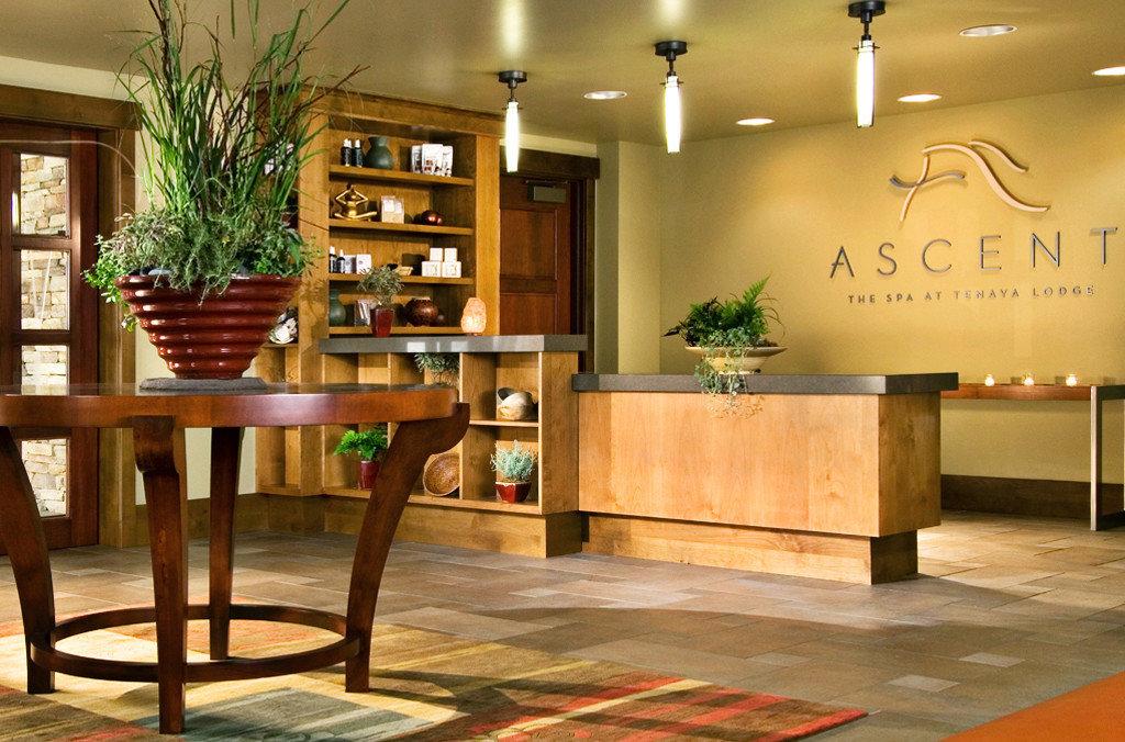 Country Lodge Rustic Spa Wellness Lobby hardwood plant home wood flooring flooring