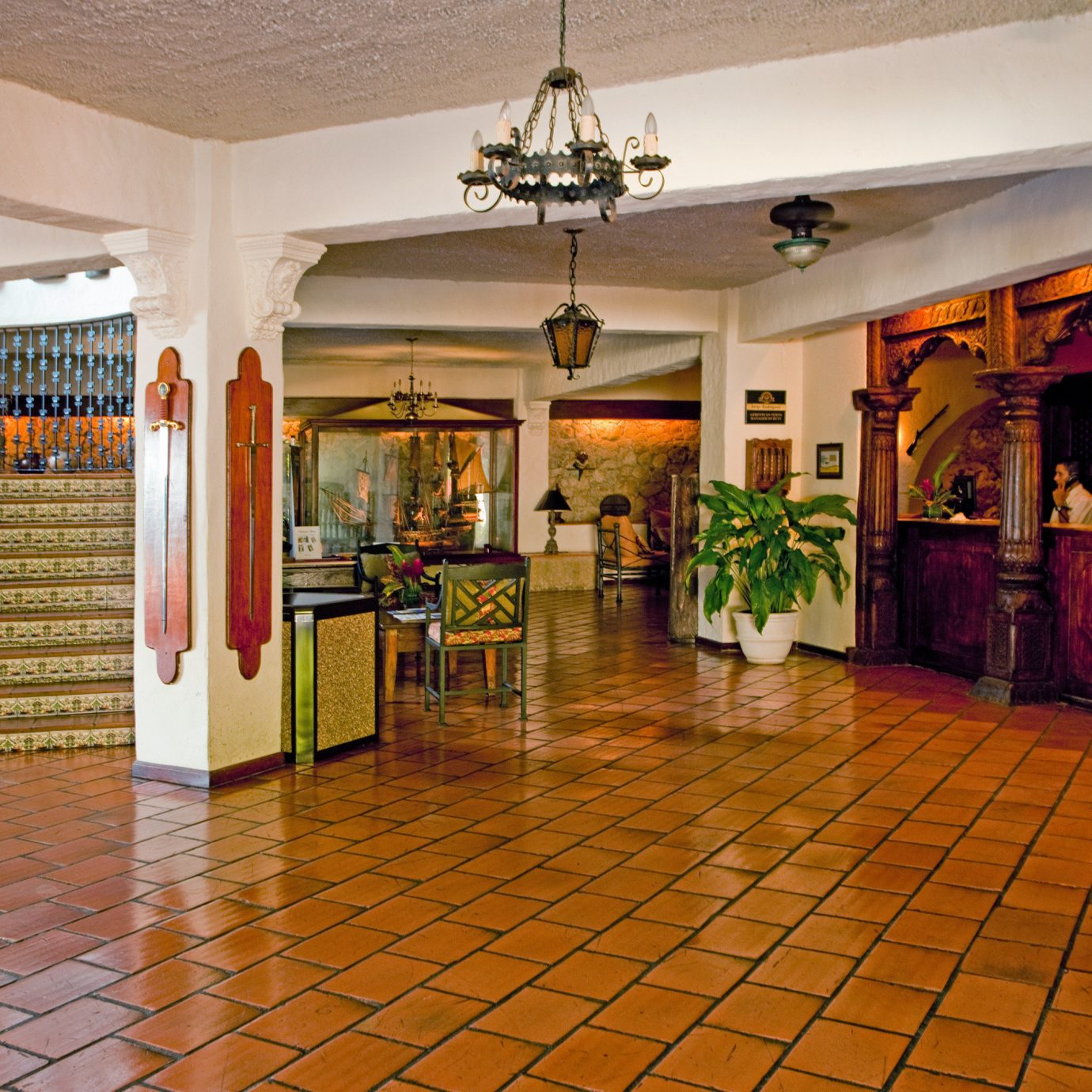 Country Lobby Rustic property mansion palace flooring tile tiled
