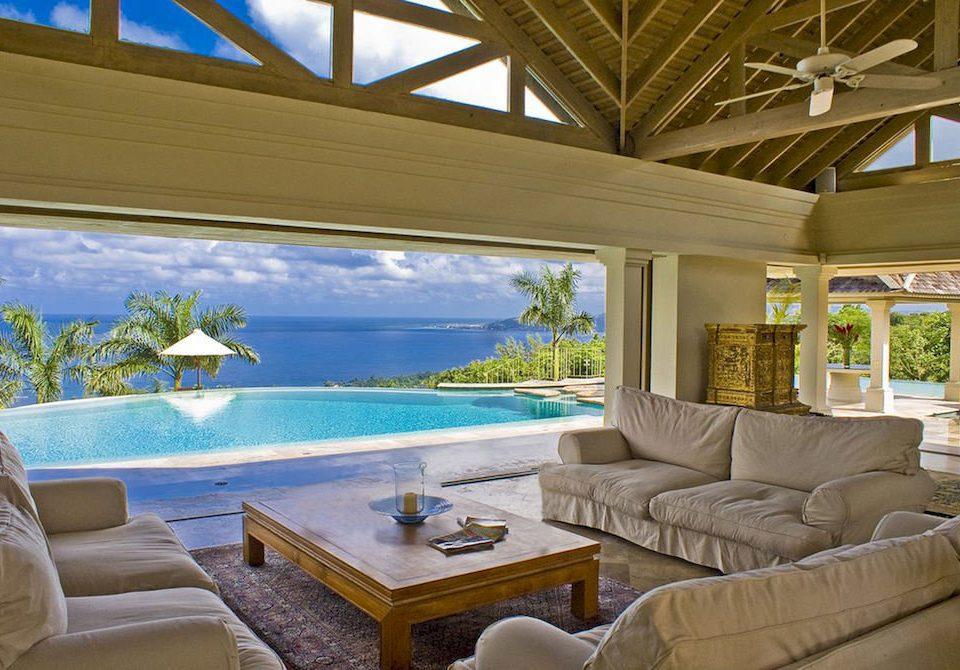 Country Luxury Pool Villa sofa property swimming pool Resort home condominium living room mansion cottage