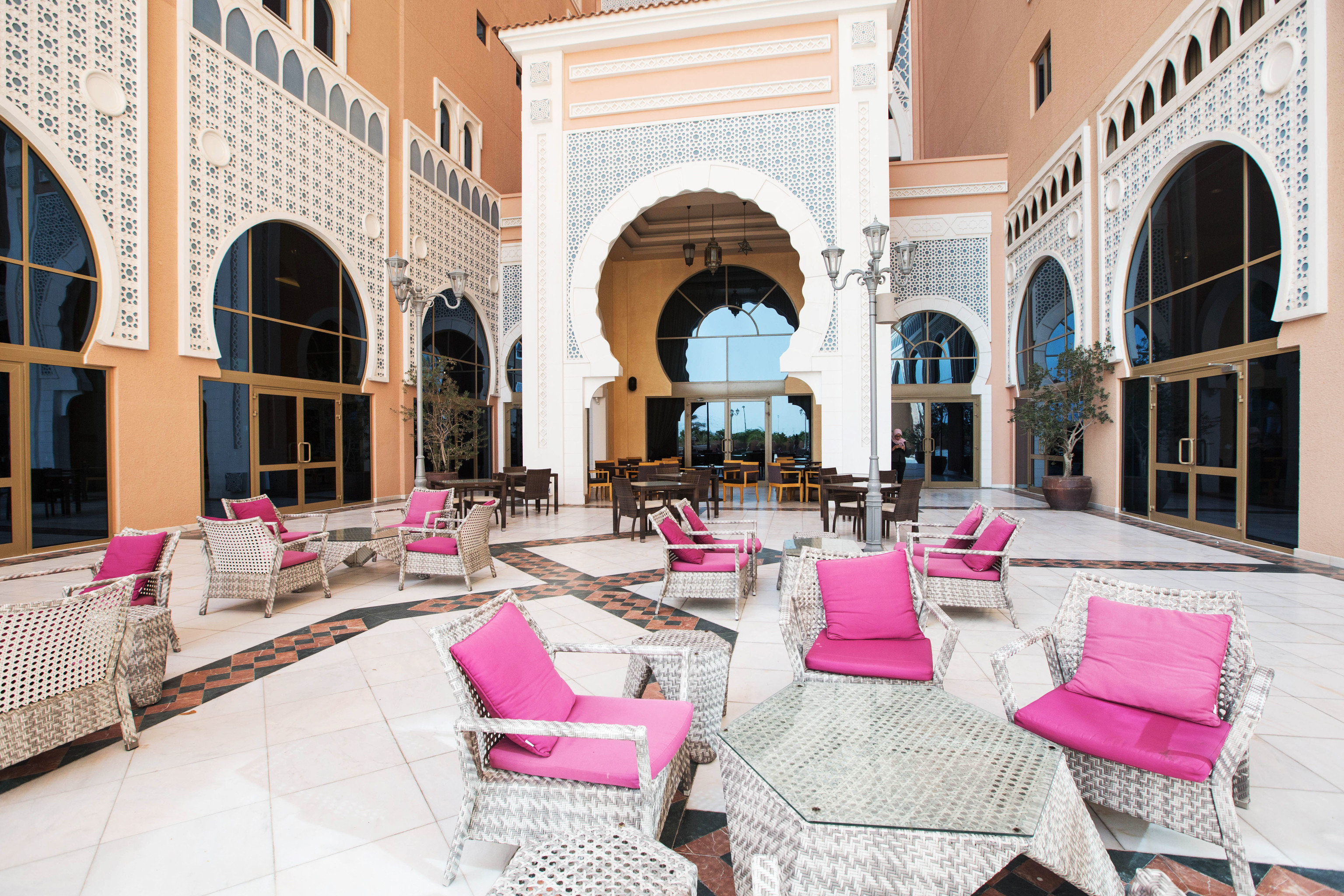 property building pink home mansion palace living room Courtyard arch