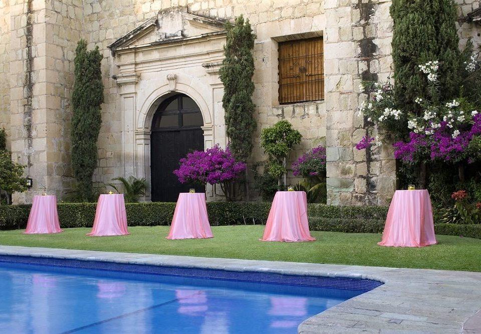 pink purple mansion Courtyard backyard stone