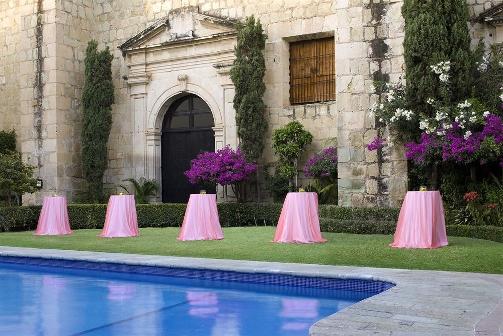 pink purple mansion Courtyard backyard stone