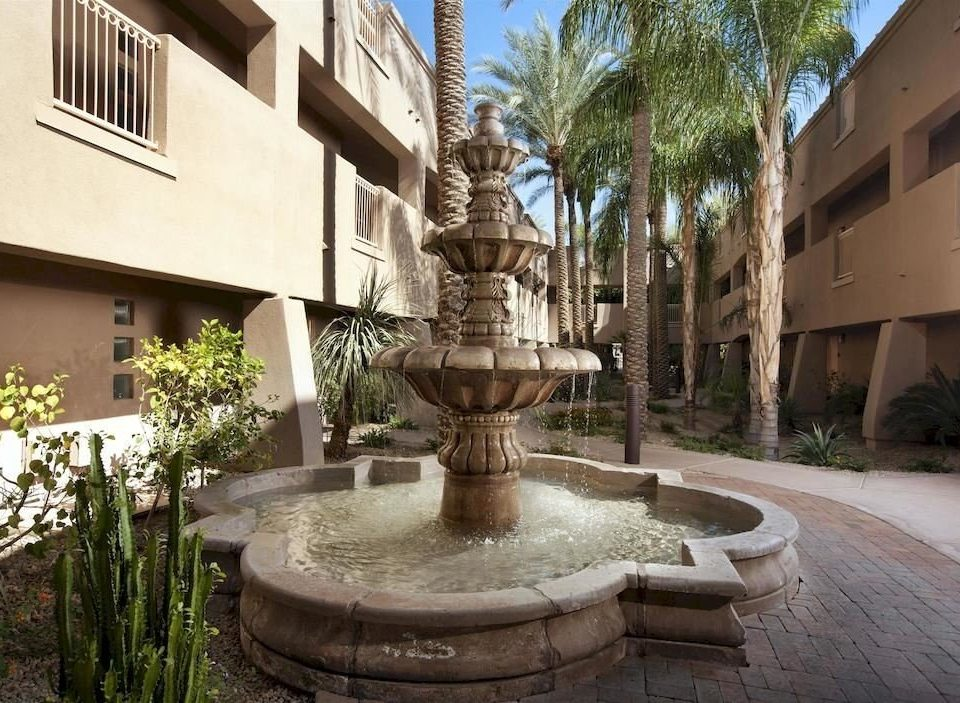 building property fountain Courtyard plaza water feature home mansion condominium stone