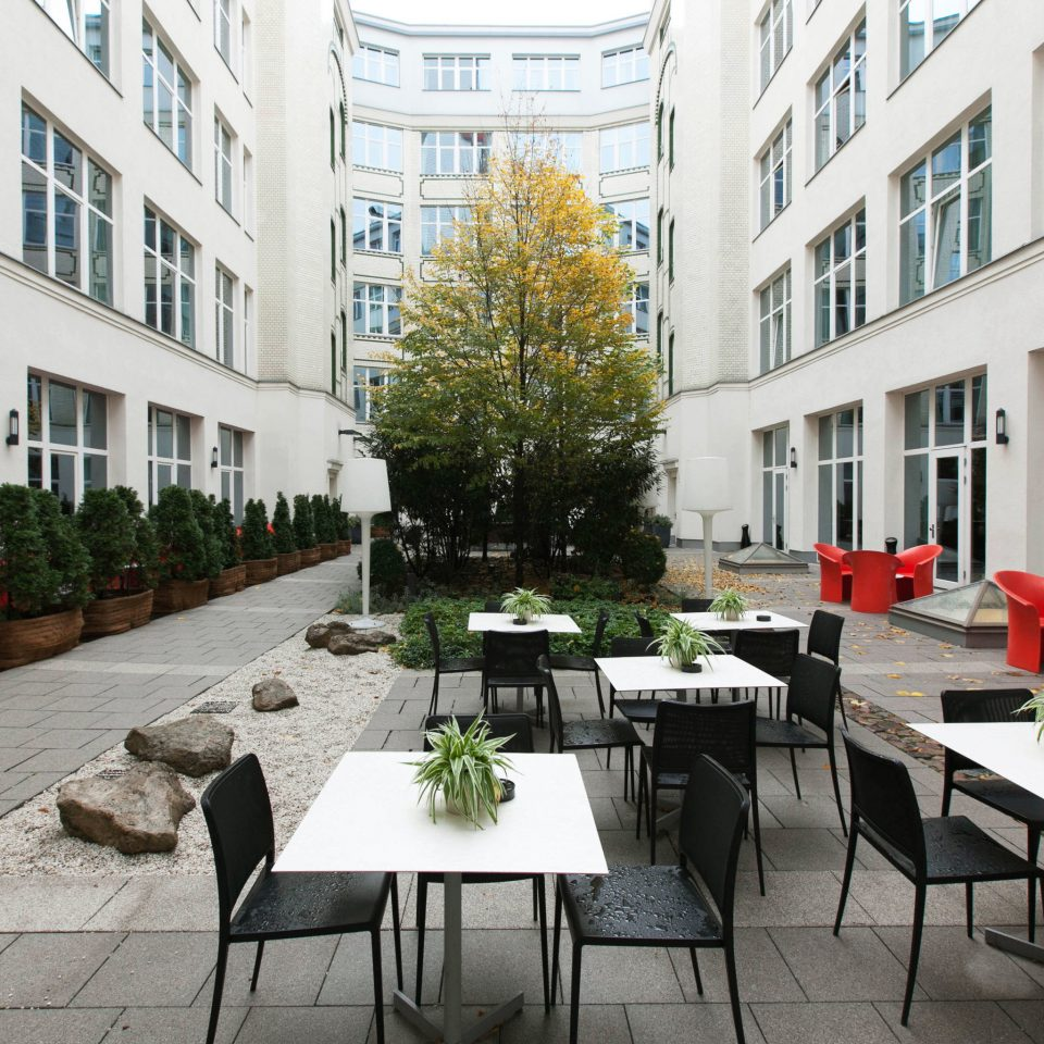 building property condominium Courtyard plaza restaurant