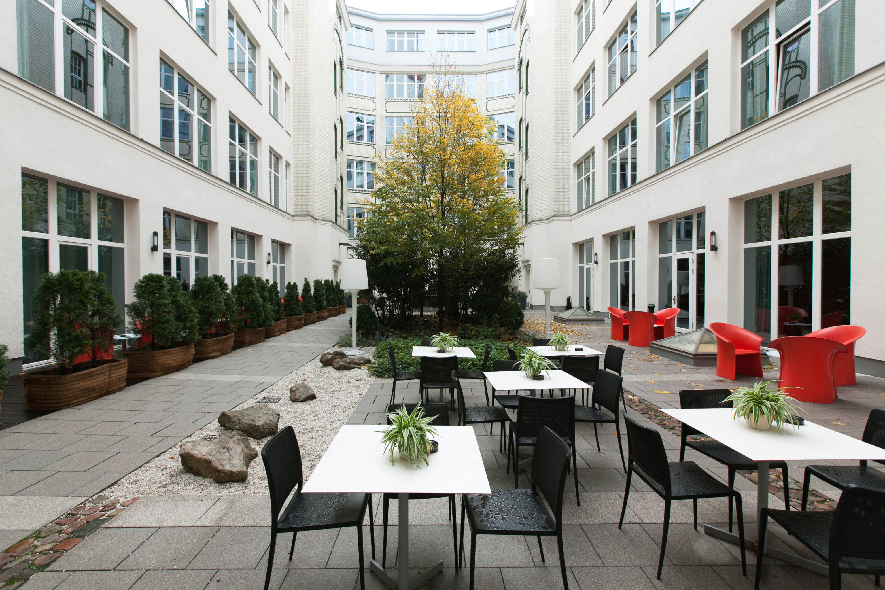 building property condominium Courtyard plaza restaurant