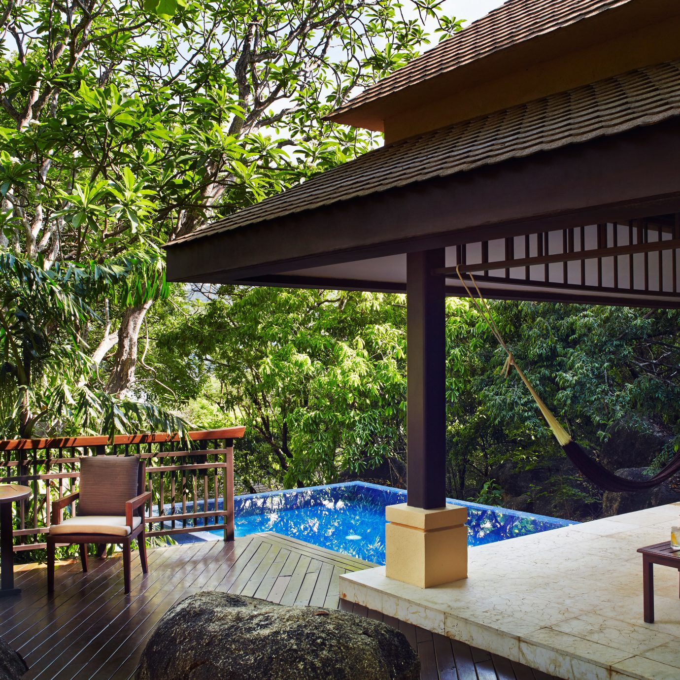 Deck Lounge Luxury Pool Romantic tree property chair building Resort Villa backyard cottage outdoor structure eco hotel Dining porch swimming pool Courtyard